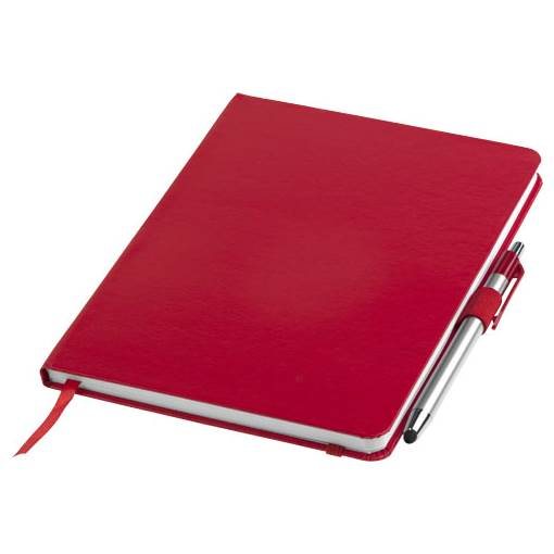 Crown A5 notebook with stylus ballpoint pen - 10685202 - Promotional items  and Corporate Gifts - Planetpromo eu